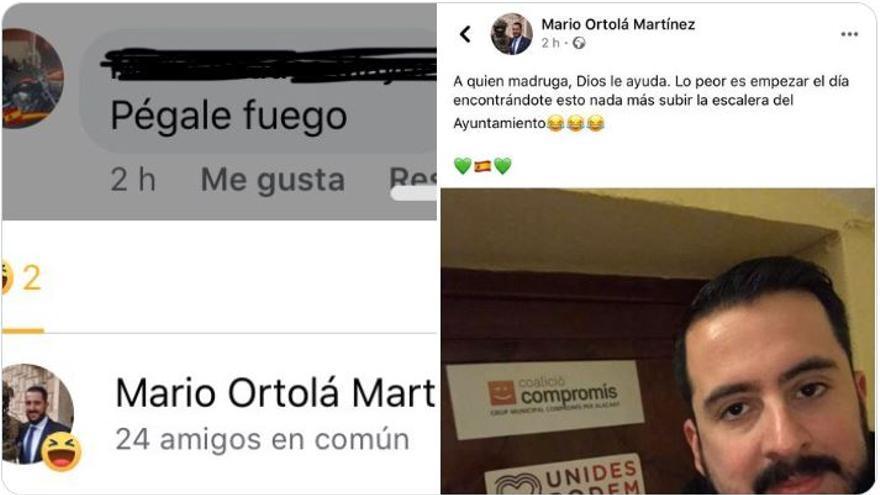 Las publicaciones de Ortolá en redes sociales.