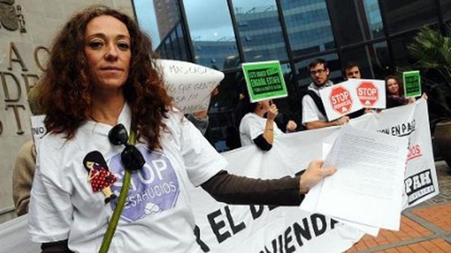Inma Évora, en una protesta contra los desahucios