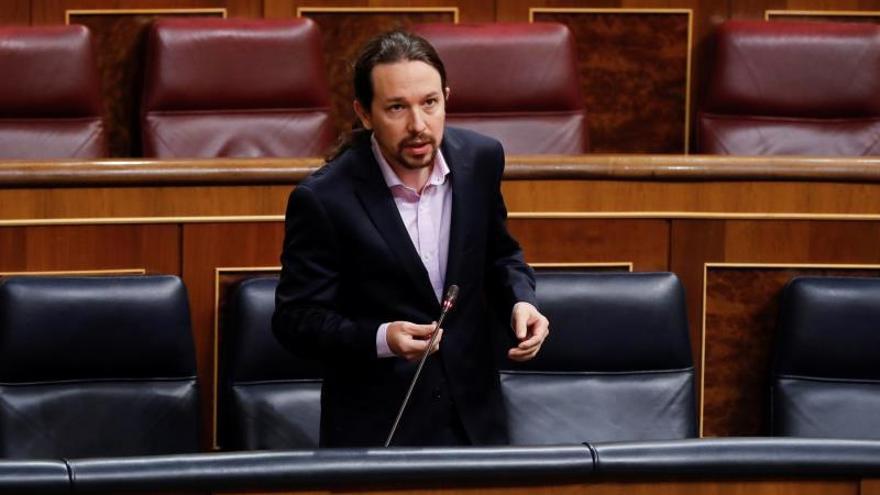 El vicepresidente segundo del Gobierno, Pablo Iglesias, interviene este miércoles en la primera sesión de control al Ejecutivo celebrada en el Congreso desde que se declaró el estado de alarma.