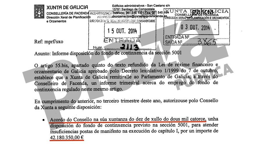 Acuerdo ocultado a los medios de comunicación por el que el Consello de la Xunta del 10 de julio de 2014 sacó 42 millones del Fondo de Contingencia