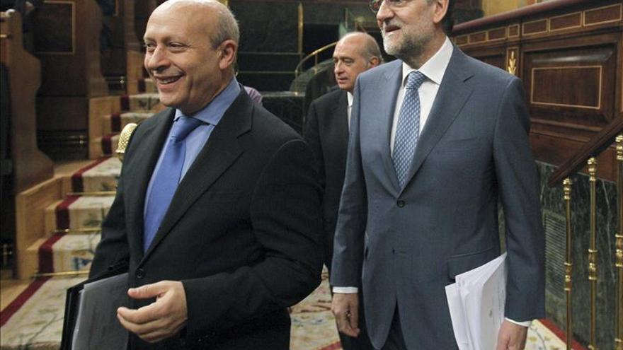 José Ignacio Wert y Mariano Rajoy en el Congreso, imagen de archivo.