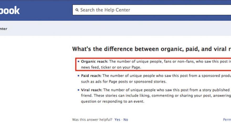 Definición de alcance en una página de ayuda de Facebook en 2012