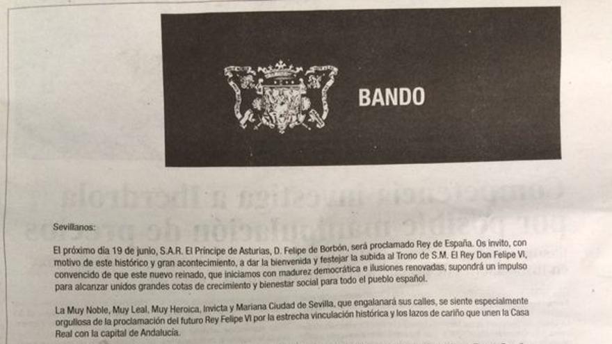 Bando municipal de Juan Ignacio Zoido, alcalde de Sevilla, firmado el pasado 17 de junio.