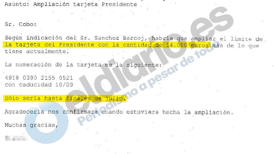 Correo de ampliación del límite de Miguel Blesa con fecha de julio de 2006