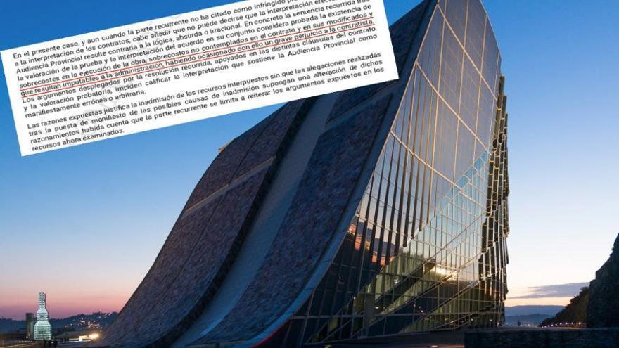 Museo da Cidade da Cultura e fragmento da sentenza do Tribunal Supremo