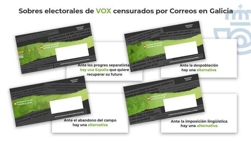 Sobres electorales de VOX retirados por Correos en Galicia y País Vasco