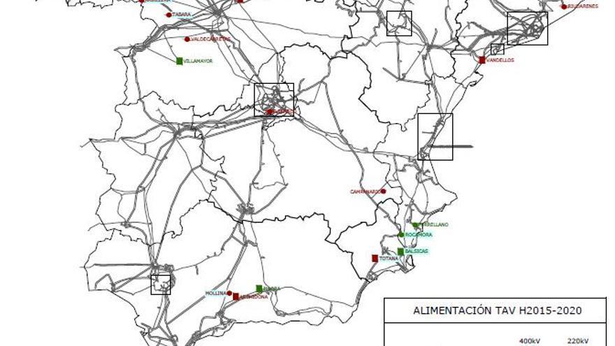 Esquema con las nuevas subestaciones eléctricas para el AVE en España; Extremadura no figura