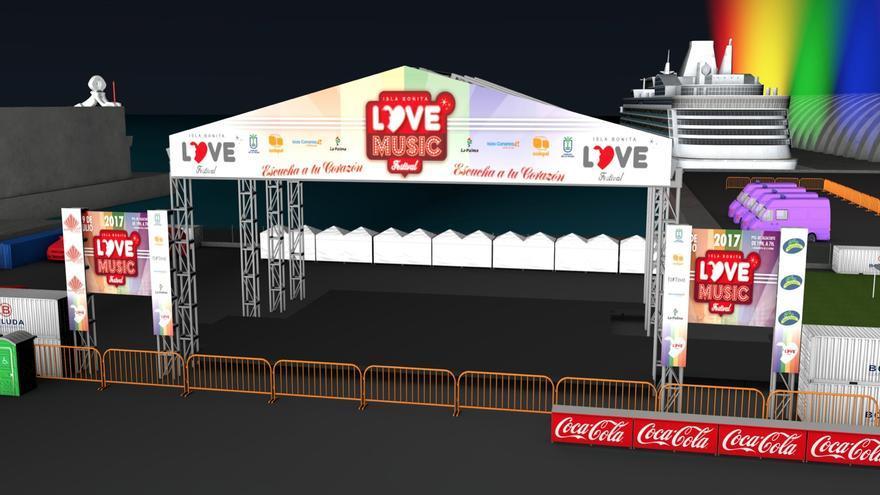 Recreación del escenario del Love Festival.
