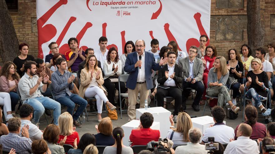 Javier Lambán en el acto de presentación de su candidatura