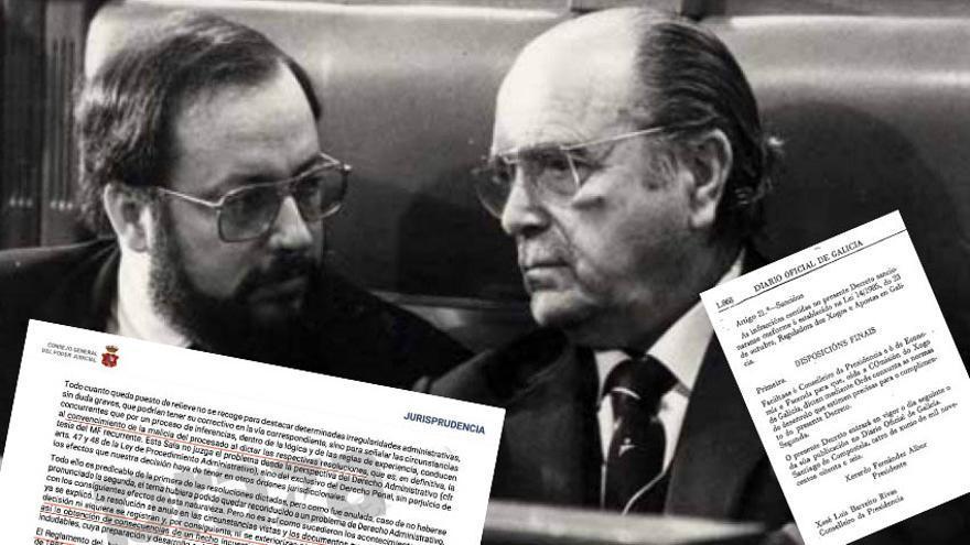 O entonces vicepresidente de la Xunta, José Luis Barreiro Rivas, con el presidente popular Fernández Albor, y documentos de su condena por el Supremo