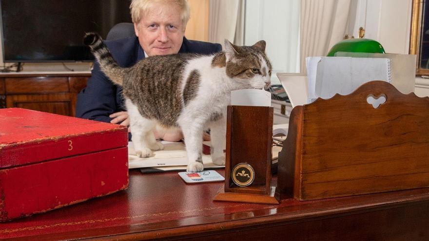 El primer ministro británico, Boris Johnson, celebra el Día Internacional del Gato, el 8 de agosto con Larry.