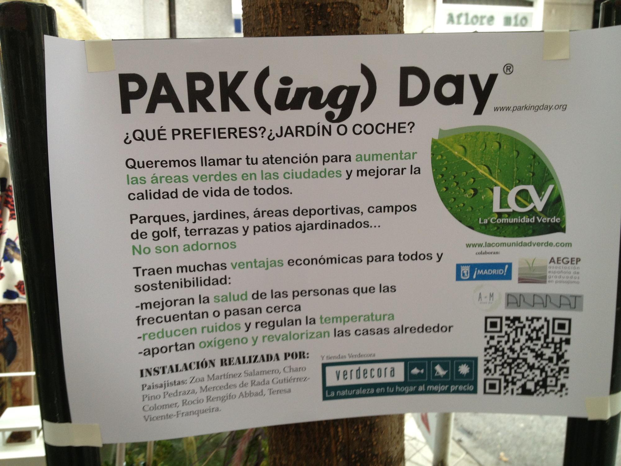 Cartel del PARK(ING) DAY 2014 | Fotografía: SOMOSCHUECA