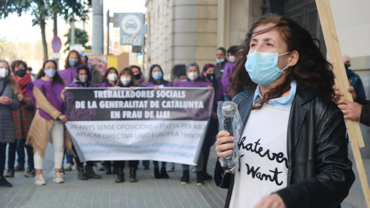 Manifestación de interinos en Barcelona