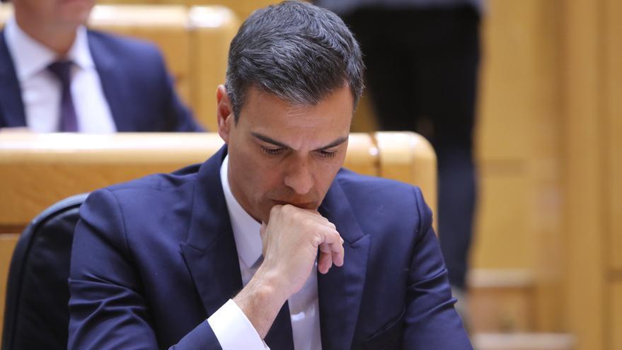 El presidente del Gobierno, Pedro Sánchez, en una sesión de control al Gobierno en el Senado.