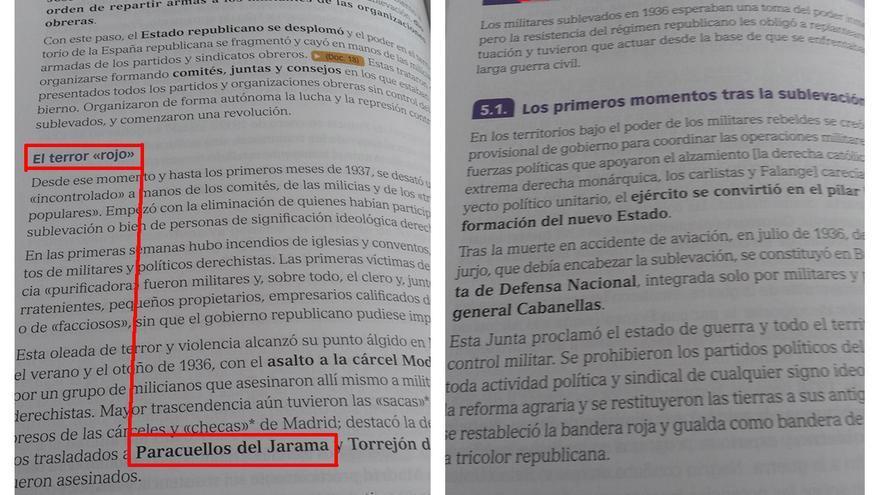 """El """"terror rojo"""" en un libro de Bachillerato."""