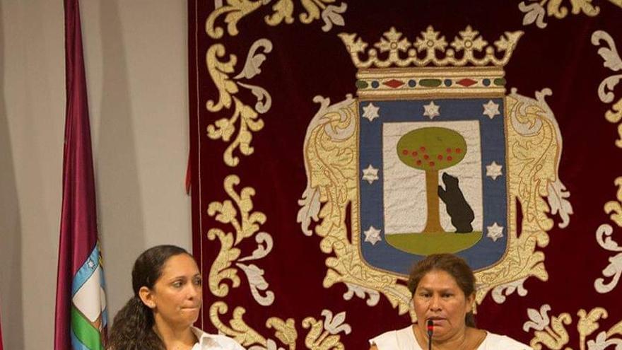 """Las activistas nicaragüenses Mónica López, defensora ambientalista (izq.) y Francisca """"Chica"""" Ramírez, del Movimiento Campesino (der)."""