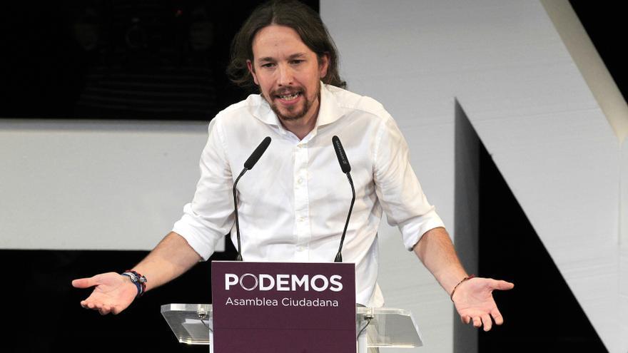 Pablo Iglesias, en su primer discurso como secretario general de Podemos. / Marta Jara