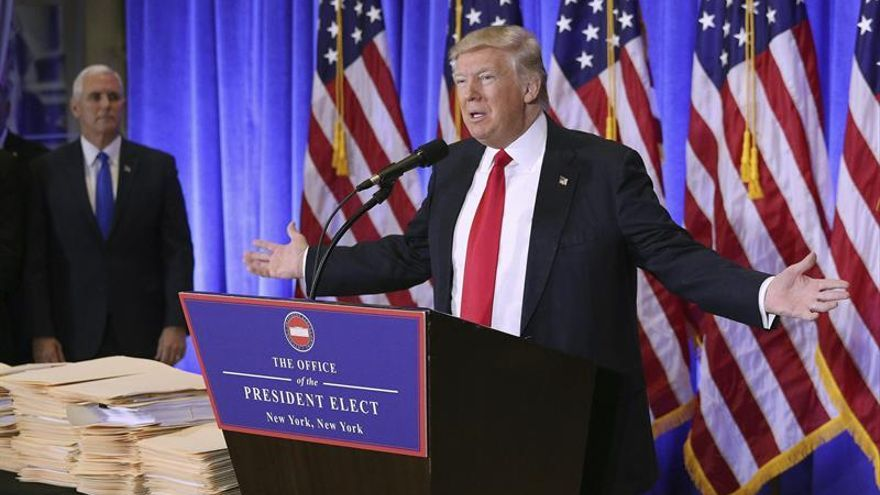 El presidente Donald Trump en una rueda de prensa celebrada el 11 de enero de 2017 en la Trump Tower de Nueva York.