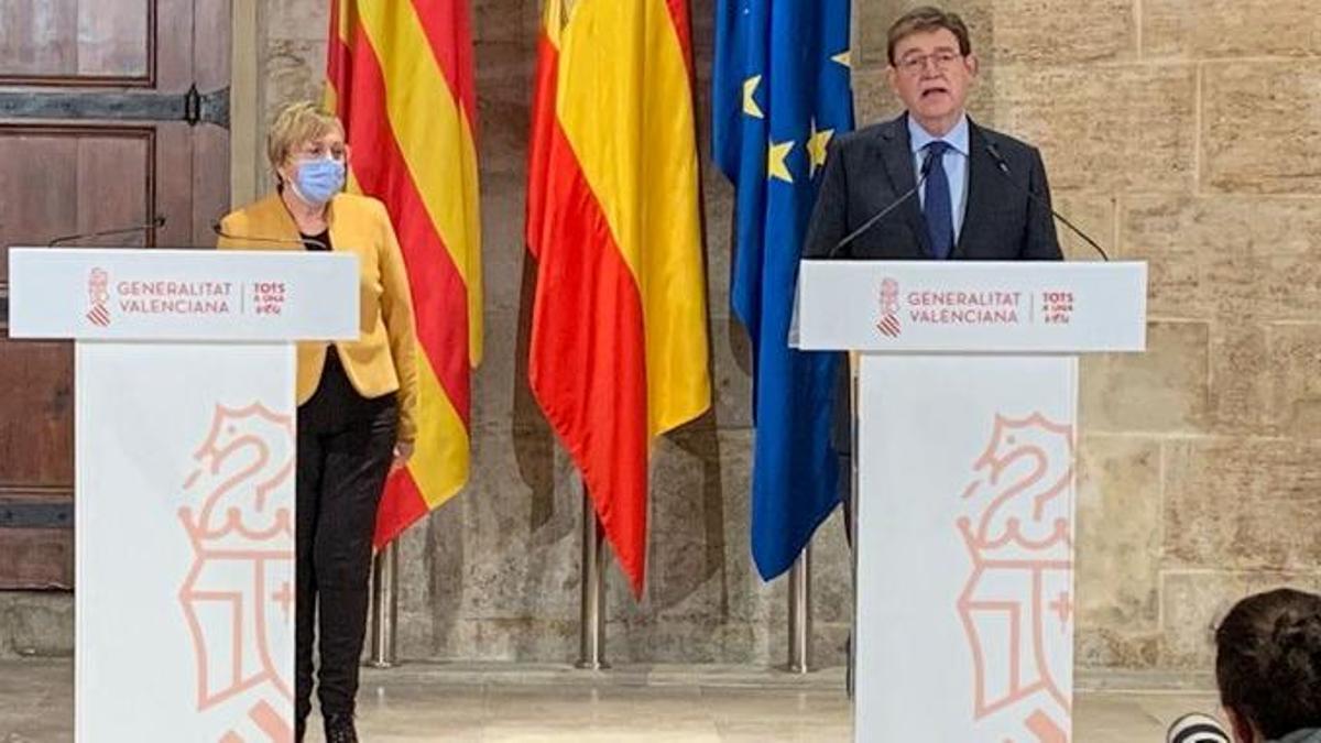 Puig y Barceló durante la comparencia posterior a la mesa interdepartamental.