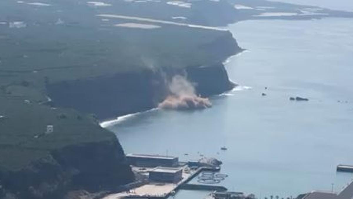 Uno de los desprendimientos registrados este domingo en Tazacorte, La Palma