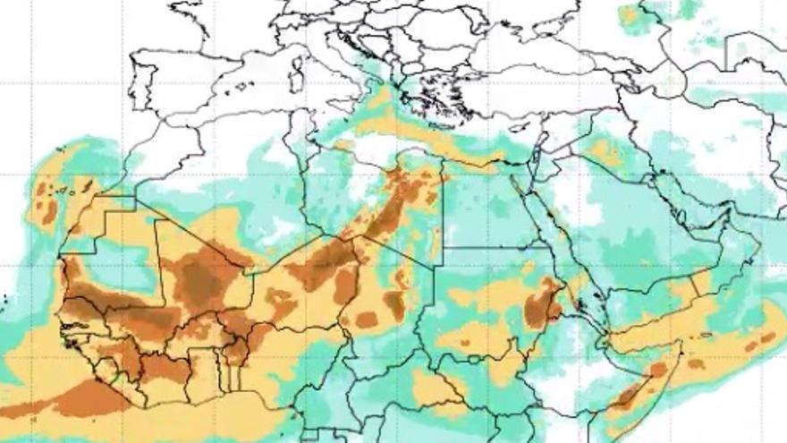 Mapa del polvo en suspensión rumbo a Canarias con vientos del este