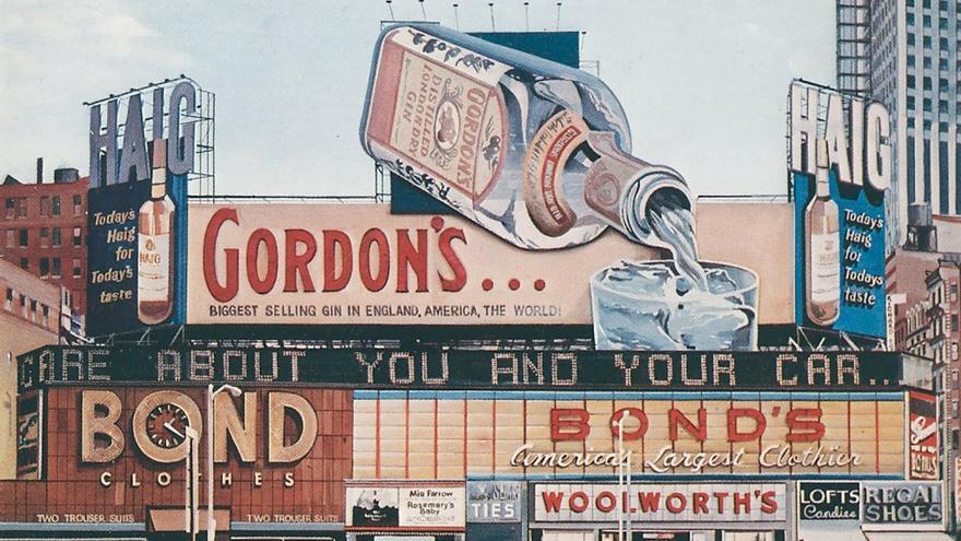 Richard Estes (1968). 'Gordon's Gin. Oil on Board'.