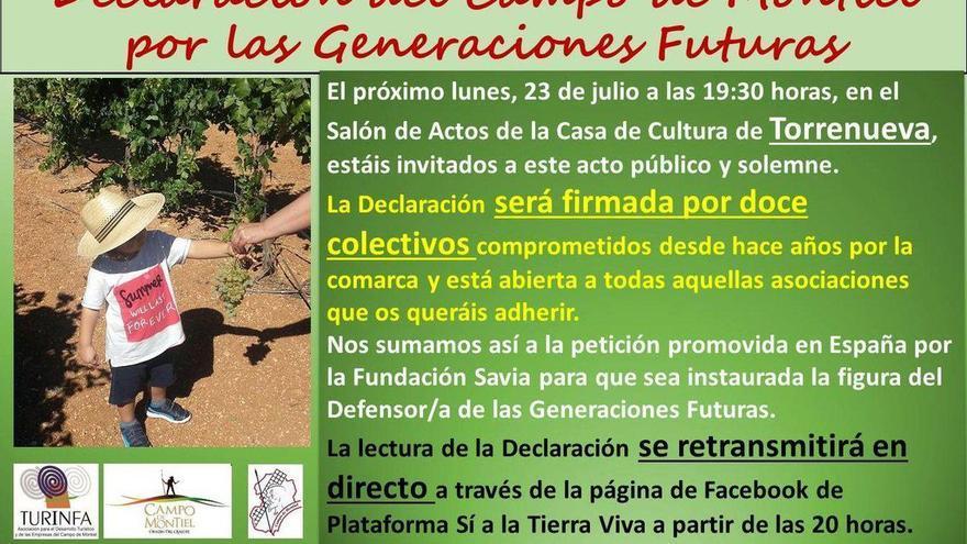 Cartel de la convocatoria del acto de firma hoy en Torrenueva (Ciudad Real)