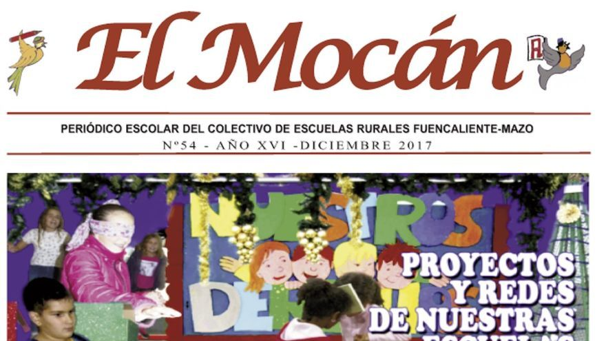 Portada el número del periódico escolar 'El Mocán'.
