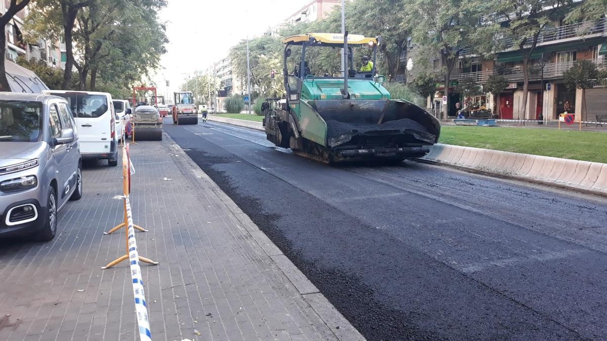 Trabajos en la avenida de Barcelona