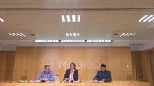 Los concejales de Seguridad, Javier Barbero; la primera teniente de Alcaldía, Marta Higueras; y el de Centro, Jorge García Castaño, en la rueda de prensa tras la muerte de un mantero en Lavapiés. Madrid, 16 de marzo de 2018.