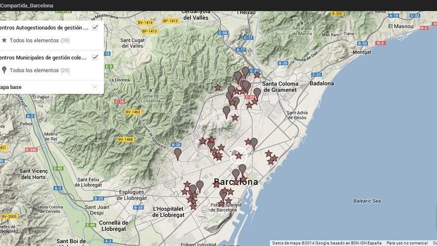 Captura de uno de los mapas de 'Ciudad Compartida' para localizar los centros sociales de cada barrio.