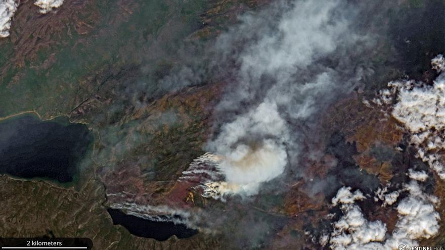 Incendio en la región de Qeqqata (Groenlandia) tomada por satélite el 14 de julio.