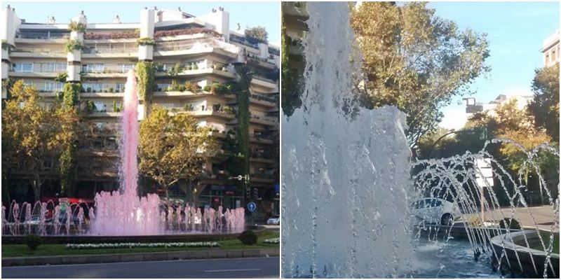 Fuente de San Bernardo, rosa el viernes (derecha, ABC) y blanca el domingo (izda, SOMOS MALASAÑA)