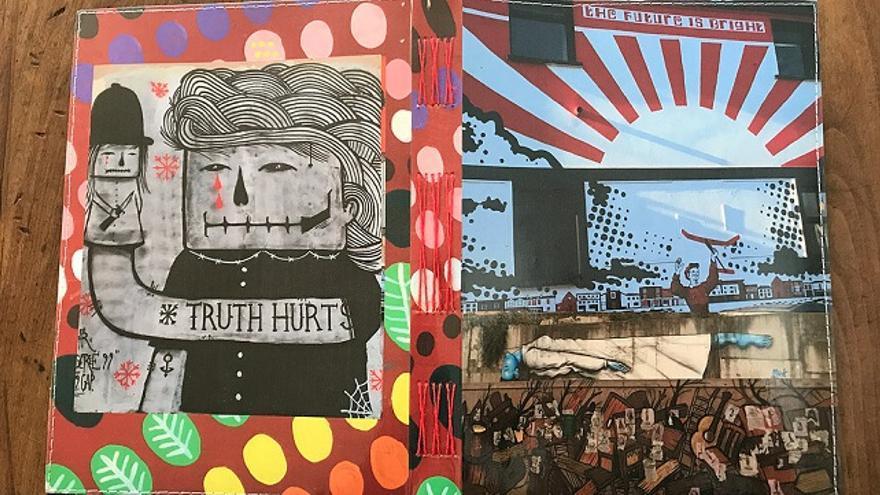 Cuaderno- collage de Delphine Prokešová. El futuro es brillante en la portada; en la contra, la verdad duele.
