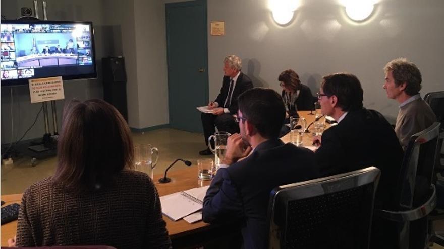 El ministro Salvador Illa, durante un consejo interterritorial telemático el pasado marzo.