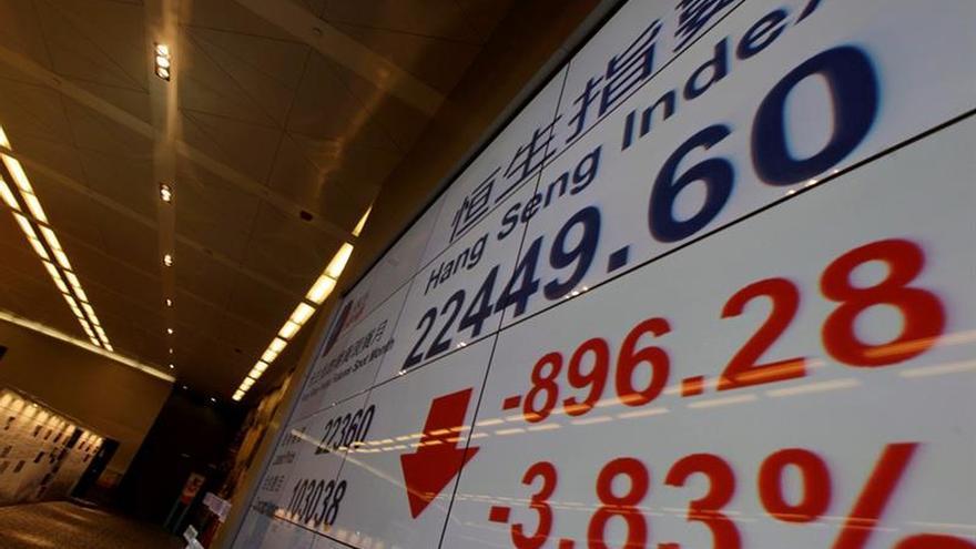 El Hang Seng baja un 0,82 % a media sesión