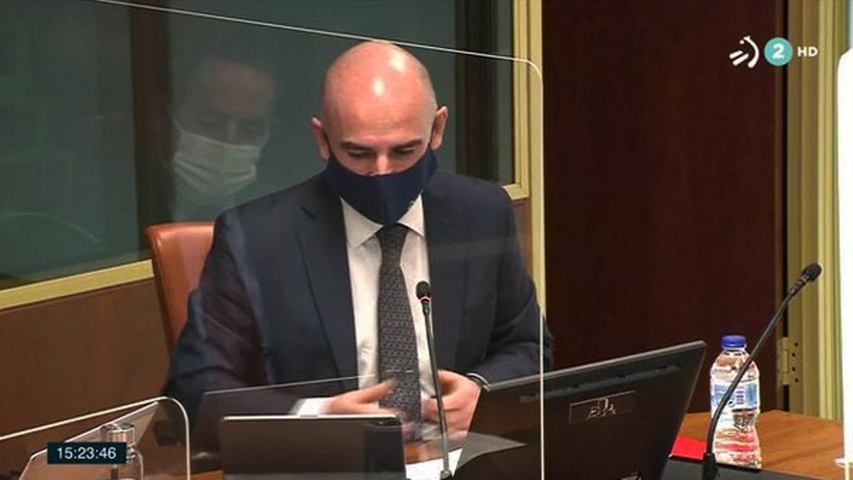 Andoni Aldekoa, en una pasada comparecencia en la Comisión de Control