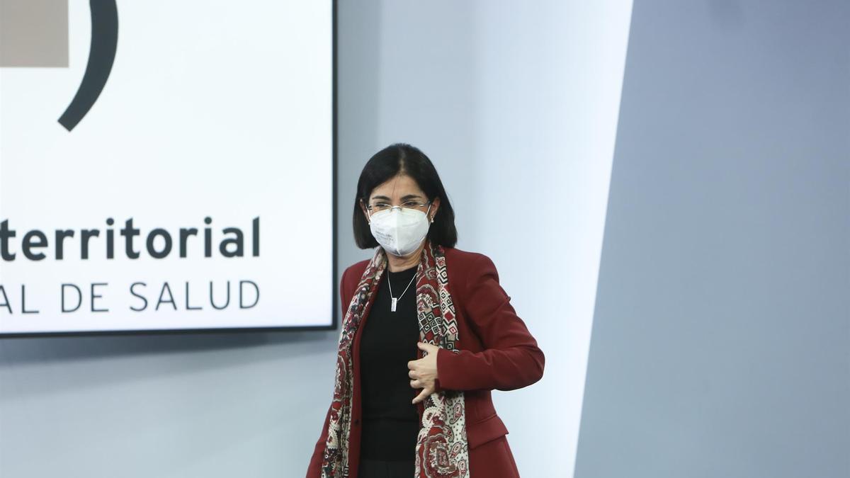 La ministra de Sanidad, Carolina Darias, en la anterior reunión del Consejo Interterritorial del Sistema Nacional de Salud
