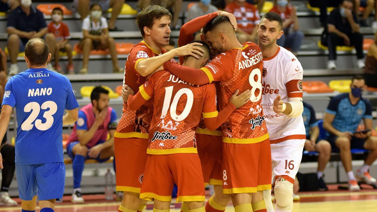 Jugadores del Jimbee Cartagena celebrando un gol