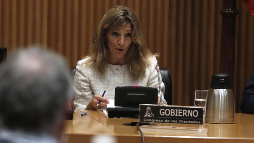 La ministra de Trabajo y Economía Social,YolandaDíaz, comparece ante la Comisión de Trabajo, Inclusión, Seguridad Social y Migraciones en el Congreso de los Diputados, este lunes
