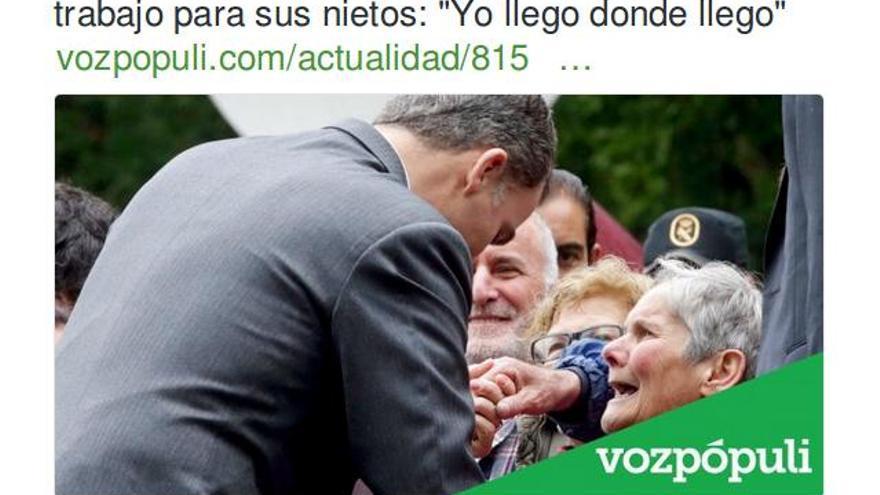 """En Vozpópuli:""""El Rey, sincero ante una mujer que le pide trabajo para sus nietos: 'Yo llego donde llego'"""""""