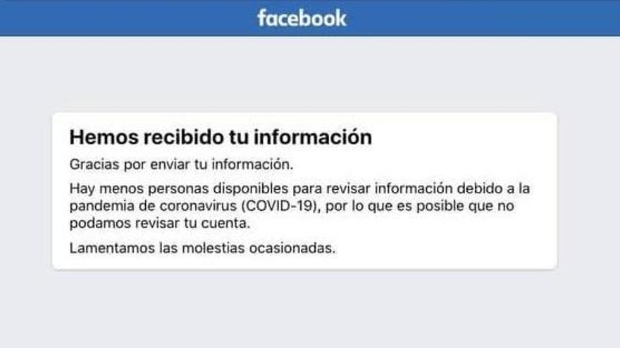 Mensaje de Facebook tras enviar una reclamación por un hackeo de cuenta