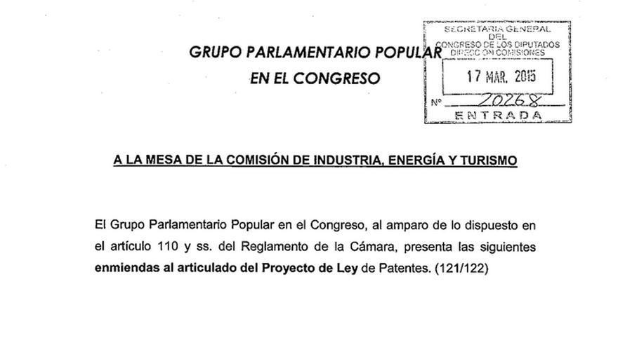 Enmiendas PP Ley Patentes