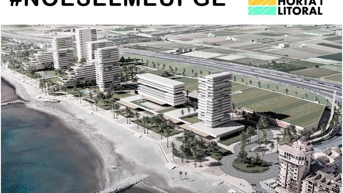 Un dels cartells de la campanya contra el PGOU d'Alboraia, amb una imatge virtual de la urbanització projectada sobre l'actual centre comercial.