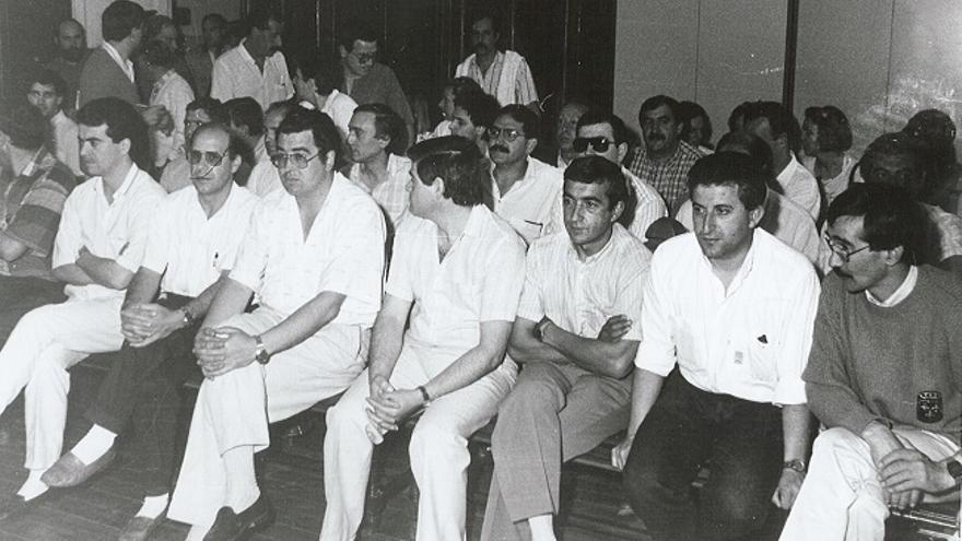 Miembros del Comité de Forjas y Aceros durante el juicio por la retención de Antolín. | ARCHIVO CCOO