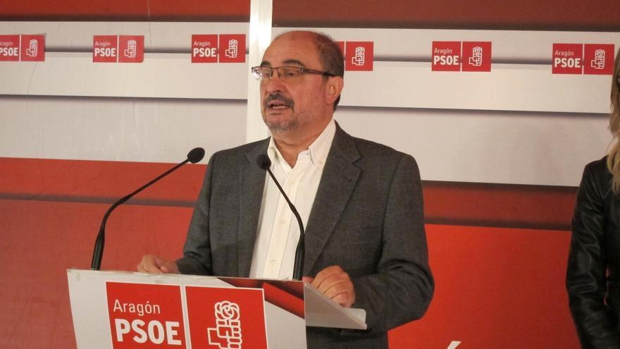 Javier Lambán en un acto del PSOE.