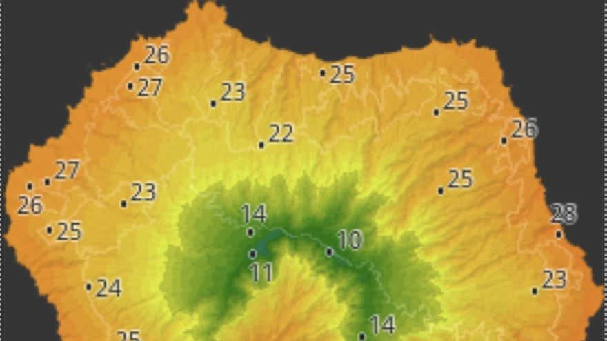 Mapa de HD Meteo La Palma donde se indica la temperatura que, a las 13.30 horas de este  miércoles,  se registraba en distintos puntos de La Palma.