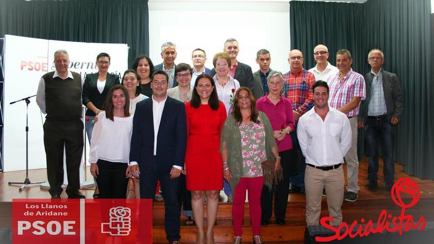 En la imagen, miembros de la lista del PSOE al Ayuntamiento de Los Llanos de Aridane.
