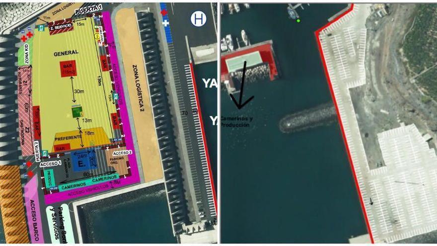 Croquis de la zona de aparcamiento el 'Isla Bonita Love Music Festival' en el Puerto de Tazcorte.