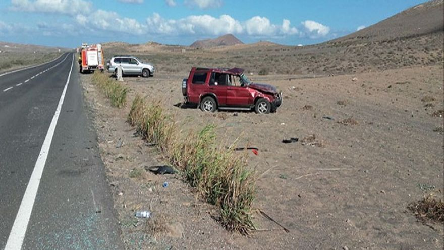 Vuelco de vehículo en Lanzarote (Diario de Lanzarote)